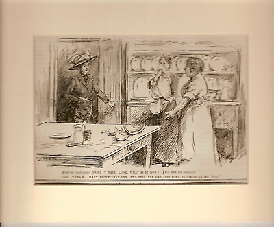 Vintage Punch Cartoon Mounted COOK & MISTRESS OF HOUSE 1911