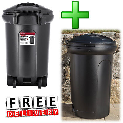 Wheeled Trash Can 2 Piece 32Gal Outdoor Waste Garbage Bin Recycling Container