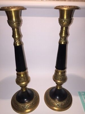 "Vintage 15"" Brass & Black Candlestick Candle Holder Matching Set From India"