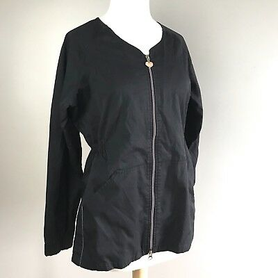 Koi Kathy Peterson black scrub full zip Roxy jacket large long sleeve pockets