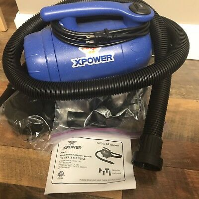 XPOWER B-2 Pro-at-Home 2-in-1 Dog Grooming Pet Force Dryer and Vacuum Blue