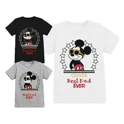 Official Disney Mickey Mouse Best Dad Ever Childrens Personalised T-Shirt