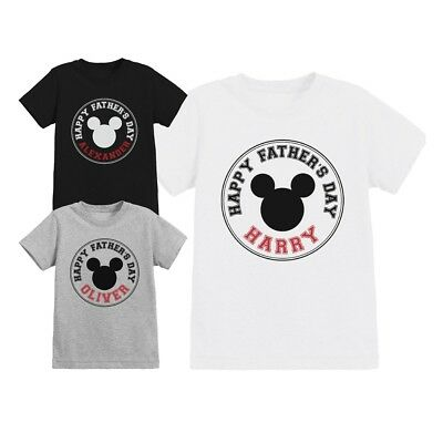 Official Disney Mickey Mouse Ears Fathers Day Childrens Personalised T-Shirt