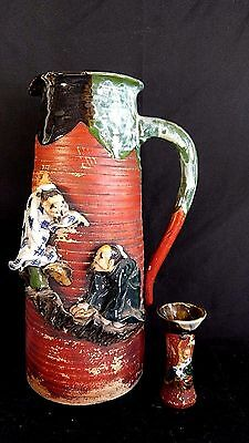 Antique Japanese Sumida Gawa Inoue Ryosai Art Pottery Jug Jar Pitcher & Vase