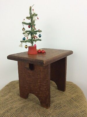Small Antique Vintage Oak Wooden Farmhouse Milking Foot Stool Plant Stand