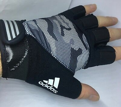 Adidas Mens HALF Finger Performance Gloves GYM-WORKOUT-TRAINING SMALL NEW FREE P