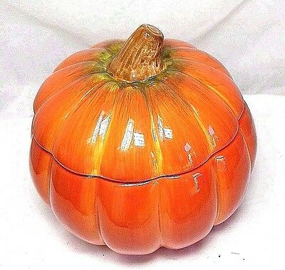"By FTD Ceramic Pumpkin Covered Bowl Tureen Cookie Jar w/ Lid 6""h X 6.5"" diameter"