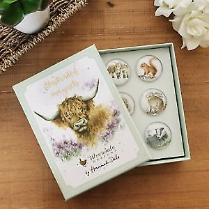 Wrendale Designs Set of 6 Animal Domed Glass Magnets Boxed Gift