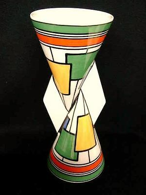 Clarice Cliff Rare Vase Yo Yo Yoyo Circles And Squares Limited Edition Uk Seller