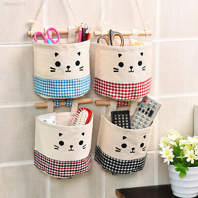 2ED9 Cotton Single Pocket Wall Hanging Storage Bags Home Garden Organizer Pouch