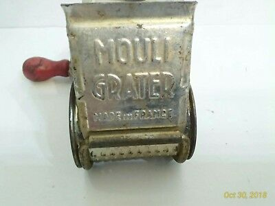 VINTAGE MOULI GRATER MADE IN FRANCE w/OLD RED WOOD HANDLE.