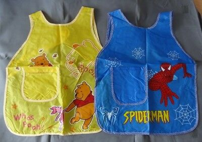 Kids apron w/ sleeve protector tabards baking painting Spiderman Winnie the Pooh