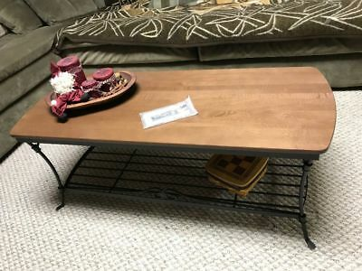 Longaberger Wrought Iron Coffee Table 61806 Rich Brown Dark Woodcraft Shelf