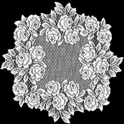Heritage Lace - Tea Rose Collection - Curtains and Tabletop Accessories in White