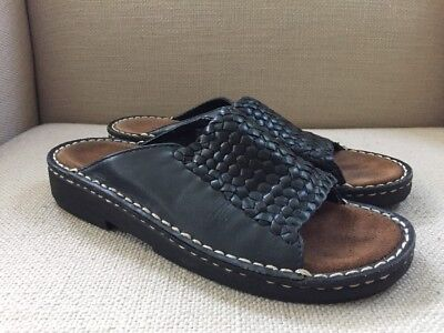 Minnetonka Moccasins Black Woven Leather Slides Sandals Size 8