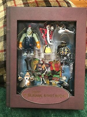 VERY RARE Nightmare Before Christmas Deluxe Disney Story Book Ornament Set 28271