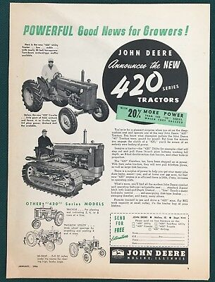 1956 JOHN DEERE 420 UTILITY & CRAWLER TRACTORS advertisement. Original & vintage
