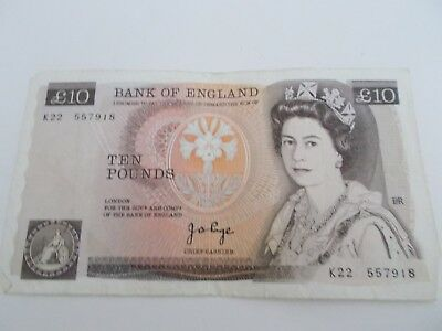 Bank Of England 10 Pound Note Series K 1970 - 1980 J.B.Page, Chief Cashier