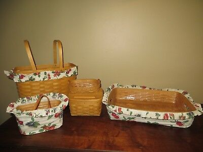 5 Pc. Longaberger Handwoven Baskets Fabric Liner ~ Signed