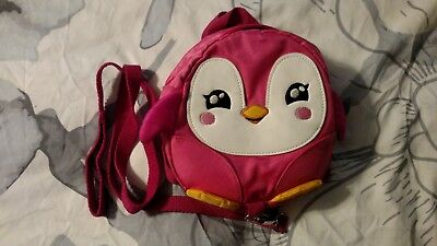 Kids Baby Safety Harness Backpack Leash Child Toddler Anti-lost Penguin Bag Pink