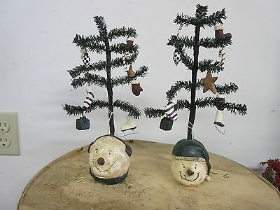 Primitive Country Set of 2 Snowmen Head Trees