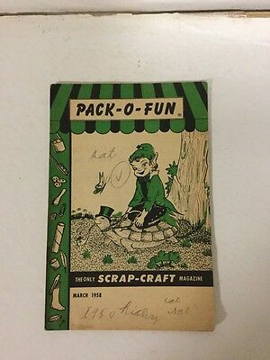 PACK O FUN ONLY SCRAP CRAFT Magazine- March 1958 Issue