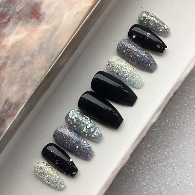 Hand Painted False Nails New Years Eve Black Glitter Bomb Press On Coffin Nails