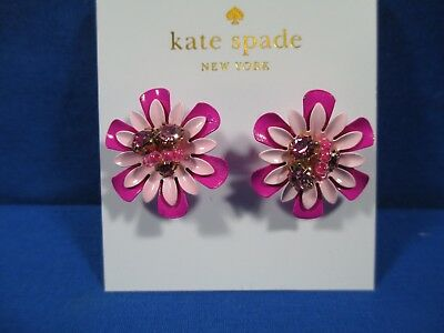 3f8243af86647 KATE SPADE VIBRANT Life Stud Earrings Floral Pink Crystals Flowers New