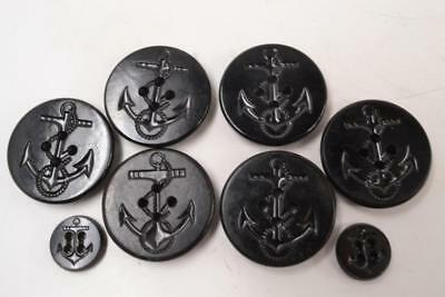 Vintage 8x Bakelite Navy Pea Coat Buttons - Anchor Rope WWII - #R-2-3-7