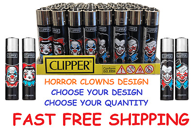 BIG Size CLIPPER Design Full Refillable Lighters HORROR CLOWN Collection Lighter