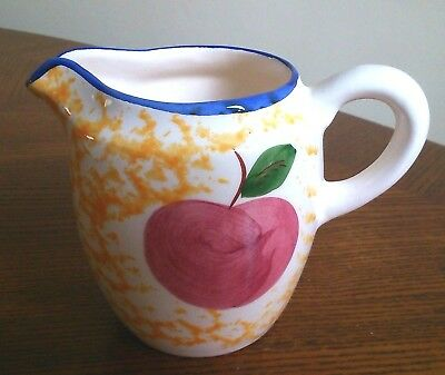 Mediterranean Red Apple Yellow Blue Ceramic Art Pottery 250ML Water Posy Jug