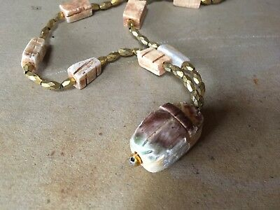 Egyptian Alabaster Scarab Necklace from Ramesseum LUXOR MUMMY