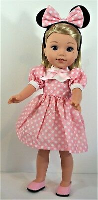 Minnie Mouse Dress 14 in Wellie Wishers Doll Clothes Outfit American Girl
