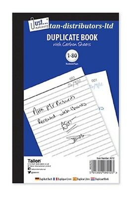 Full Size Duplicate Receipt Book Carbon sheet Numbered Cash 1 - 80 Pages Pad New