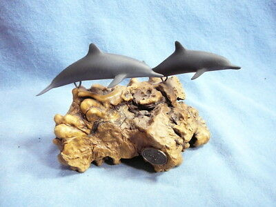JOHN PERRY BOTTLE NOSE DOLPHINS SCULPTURE Displayed On Burl Wood-Beautiful