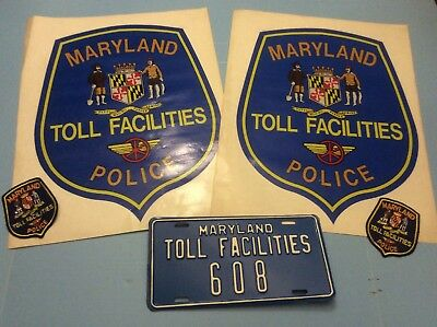 Maryland Toll Facilities Police Door Shields, License Plate and 2 Patches
