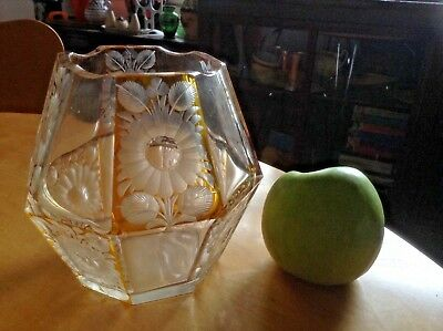 Vintage Art Deco Coloured & Etched Glass Vase Or Bowl. Retro 1950's