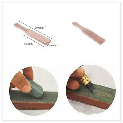 Wood Handle Leather Polish Sharpening Strop 2 Sided Knives Compound For Razors
