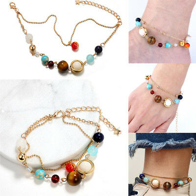 Natural Stone Galaxy Bracelet Solar System Bangle Nine Planets Wristbands