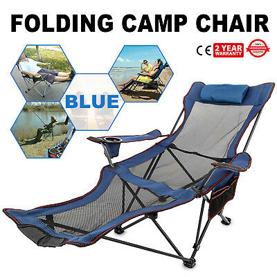 Pleasant Blue Reclining Folding Camp Chair With Footrest Cup Holder Creativecarmelina Interior Chair Design Creativecarmelinacom