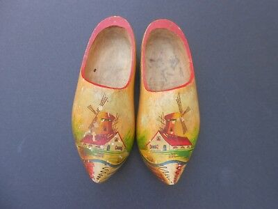 Vintage Dutch wooden shoes with hand painted windmills