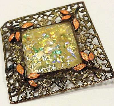 "VTG ANTiQue Art Nouveau Pin Brooch ""Daylight"" Dichroic Glass Filigree Bronze>"