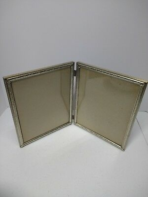 Vintage Picture Frame Tri Fold 8 X 10 Photos Hinged Gold Tone Brass