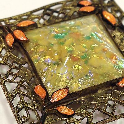 "VTG ANTiQue Art Nouveau Pin Brooch ""Daylight"" Dichroic Glass Filigree Bronze<"