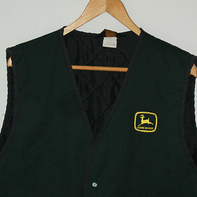 John Deere Vest Vintage Size XL Pockets Snaps Quilted Lining by Protexall