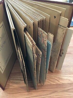 National Geographic Society Red Hardcover Map File Folder 1940s 50s with 11 Maps