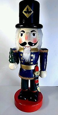 Decorative Wood Nutcracker Christmas Soldier Figurine w/ Tree & Sword 13.5""
