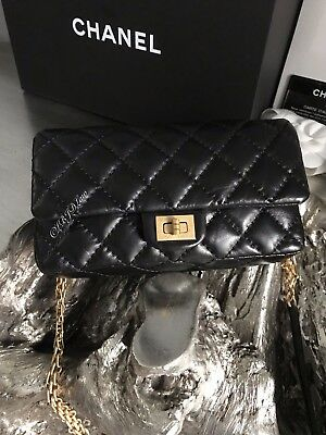 357d196d6144 NWT CHANEL BLACK REISSUE WAIST BAG 2.55 BELT BUM Fanny Pack BLACK GOLD  TRAVEL