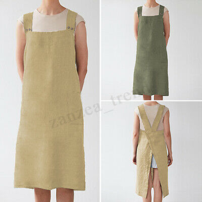 UK STOCK Women Back Cross Kitchen Cooking Pinafore Apron Long Dress Home Wear