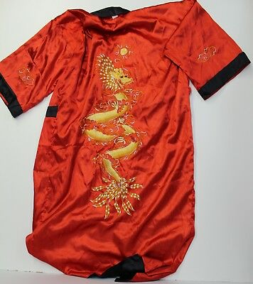 Unisex One Size Fits Many Kimono Robe Reversible Red/Black Embroidered Dragon